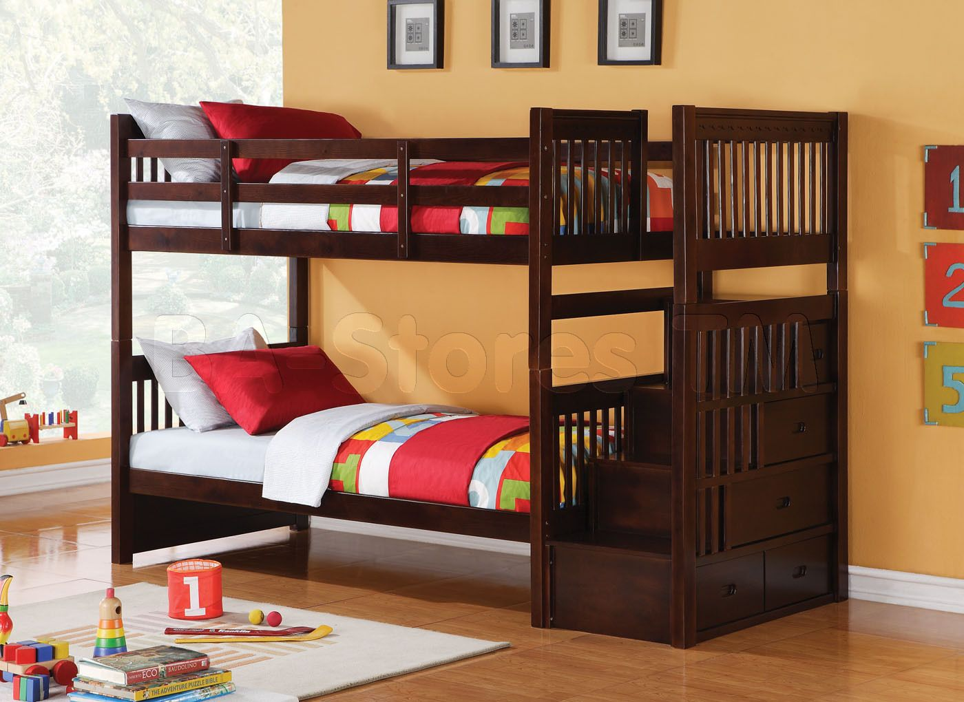 Alem Espresso Twin Bunk Bed Storage Ladder