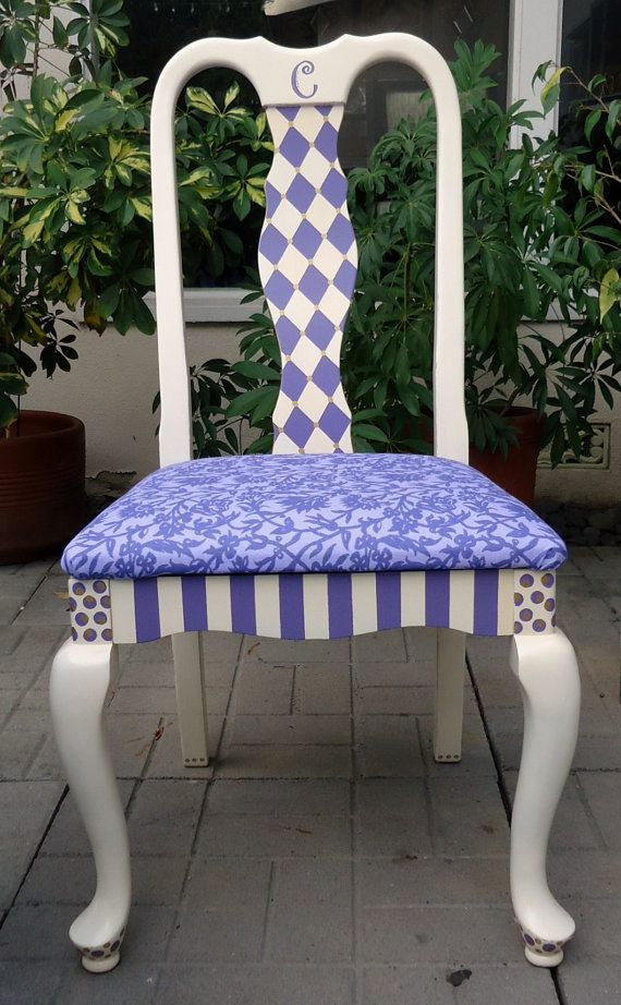 Hand Painted Desk Chair Via Etsy