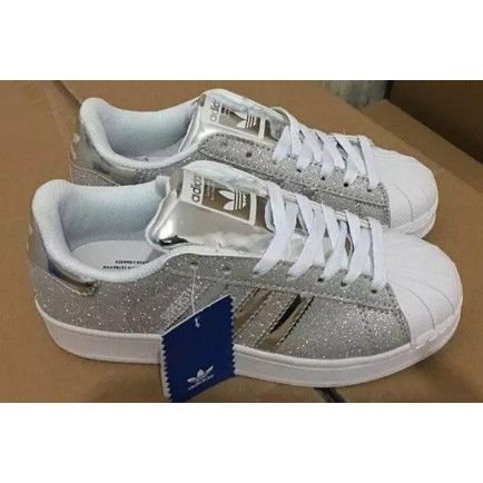 Adidas Superstar White Silver Glitter Shell Toe Womens Trainers ... 4d15cb3d4d