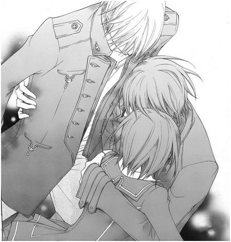Kaname hugging Zero and Yuki goodbye.