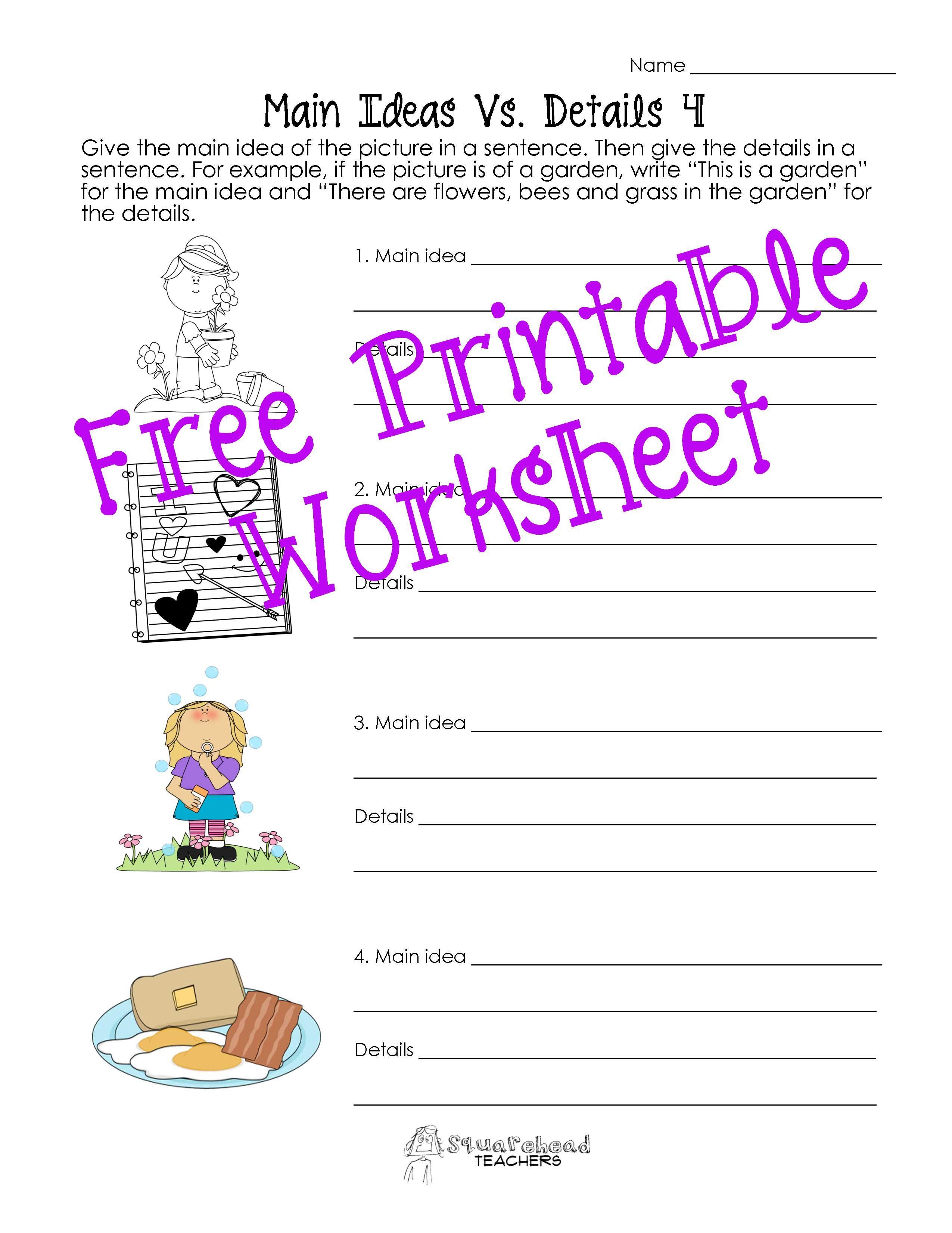 Main Idea Vs Details Worksheets Post 2 Main Idea Worksheet First Grade Worksheets Kindergarten Worksheets Printable