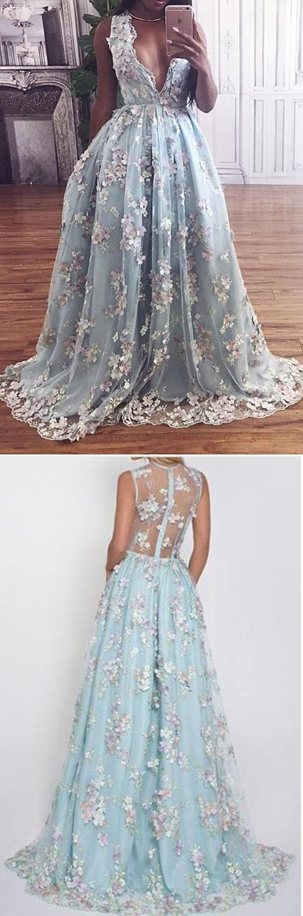 Floral lace deep vneck a line light sky blue princess prom dress