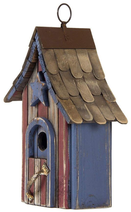 Glitzhome Hanging Distressed Solid Wood Garden Birdhouse #birdhouses