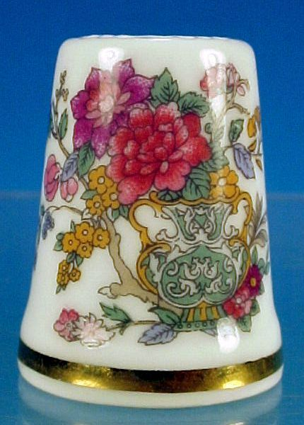 Vintage PARAGON Fine Bone China THIMBLE Peony Flowers & Scrolls