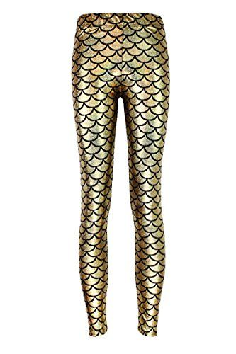 5c426467467809 Pink Queen Womens Mermaid Fish Scales Leggings Stretchy Tights Skinny Pants  3XL Gold >>> Check out this great product.