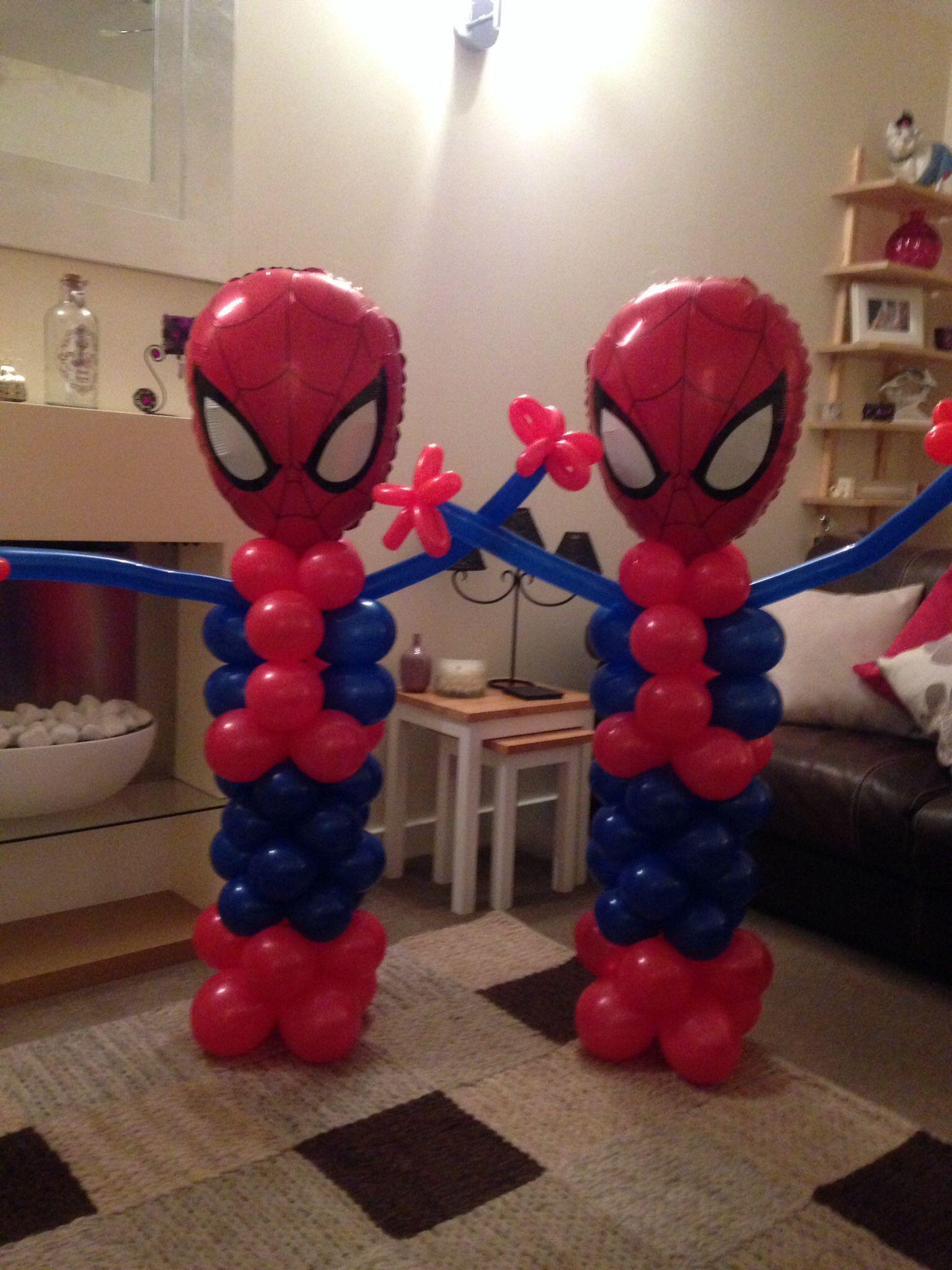 Spiderman balloon models x balloons pinterest for Cuartos decorados hombre arana