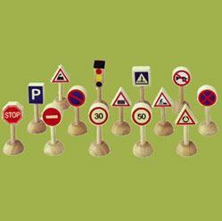 Ensemble De Panneaux Et Feux De Signalisation (plantoys) Bois, Peinture à Lu0027