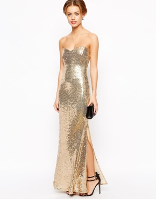 Lipstick Boutique Petite Strapless Sequin Maxi Dress | Dressy ...