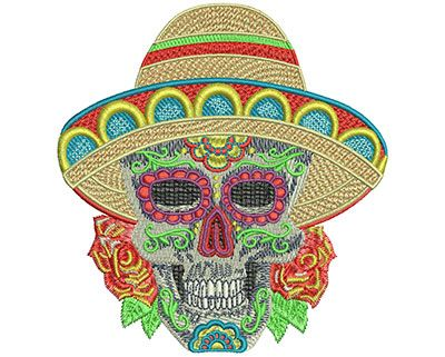 Sugar Skull Sombrero Machine Embroidery Design Or Pattern