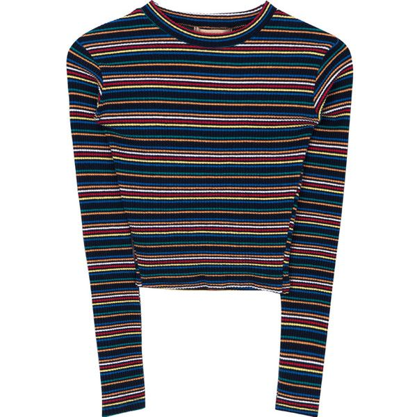 1d99462e4fd72f Multi-Colored Striped Long Sleeve Crop Top (125.020 VND) ❤ liked on  Polyvore featuring tops, shirts, blue shirt, multi color striped shirt, striped  crop ...