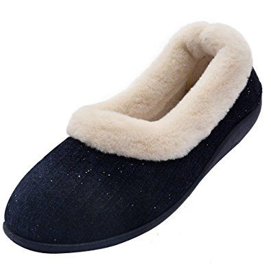 aade4399e1f24f Wishcotton Women s Knitted Cotton Memory Foam Slippers Fuzzy Collar Outdoor  Indoor House Shoes Review