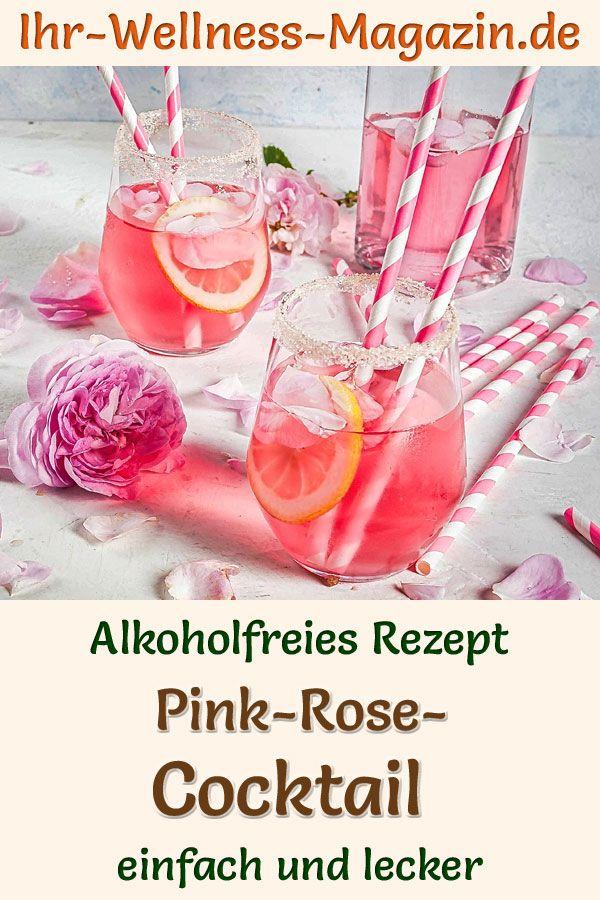 Pink-Rose-Cocktail: Einfaches Rezept für ein alkoholfreies Sommergetränk ohne Zucker. Der fruchtige, kalte Mocktail mit Rosenwasser und Blutorangensaft ist gesund, kalorienarm, erfrischend, lecker und schnell selbst gemacht ...