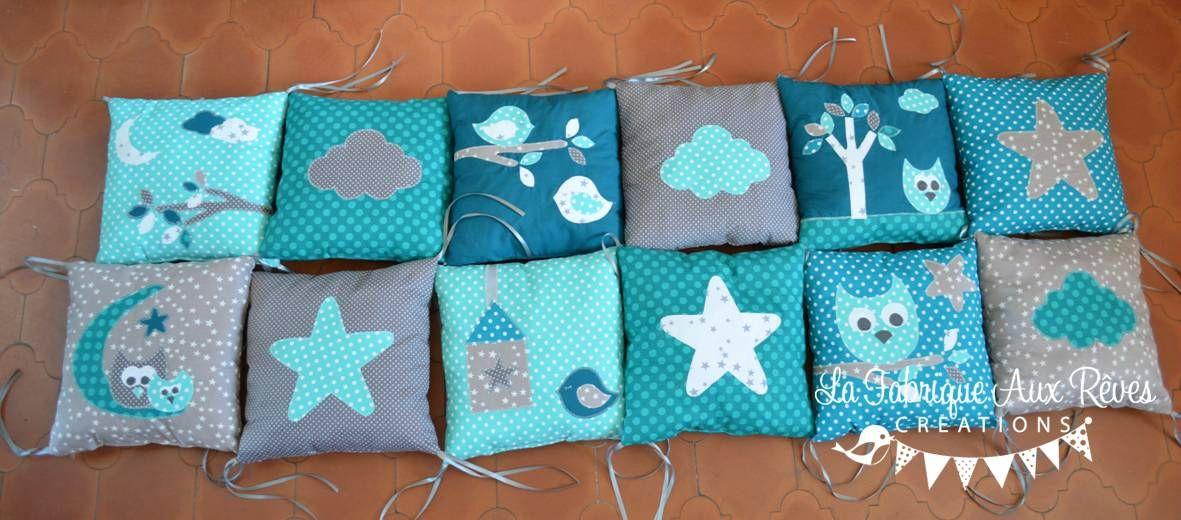 tour lit complet coussin bébé hibou étoiles turquoise pétrôle gris ...