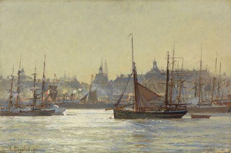 """Alexei Petrovitch Bogoliubov (1824-1896),  """"Vue du port de ???"""", huile sur panneau,"""