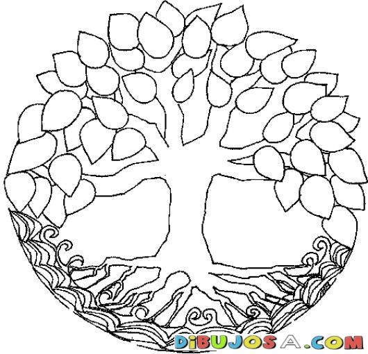 Mandalas Para Colorear Arbol Con Hojas Y Raiz Tipo Timberland ...