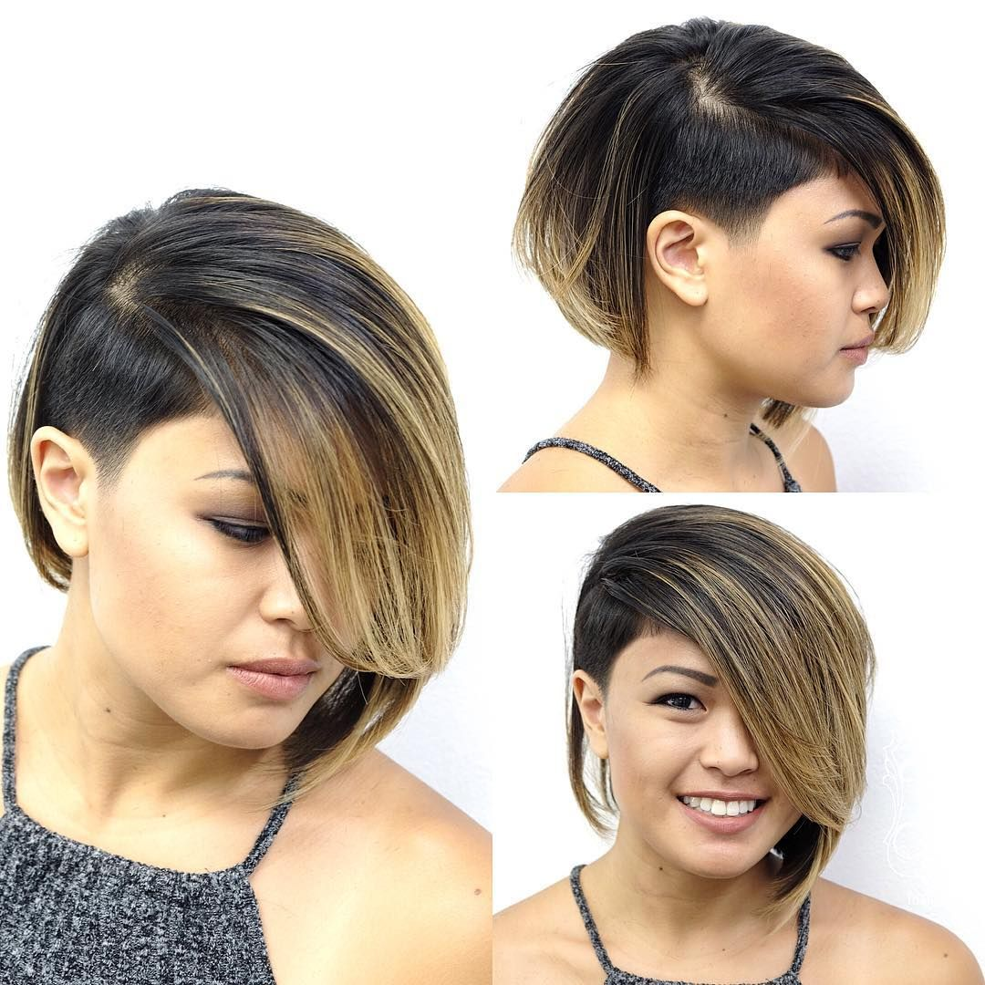 Eccentric Asymmetrical Undercut Bob With Side Swept Bangs And Highlights The Latest Hairstyles For Men And Women 2020 Hairstyleology Undercut Hairstyles Undercut Bob Asymmetrical Bob Haircuts