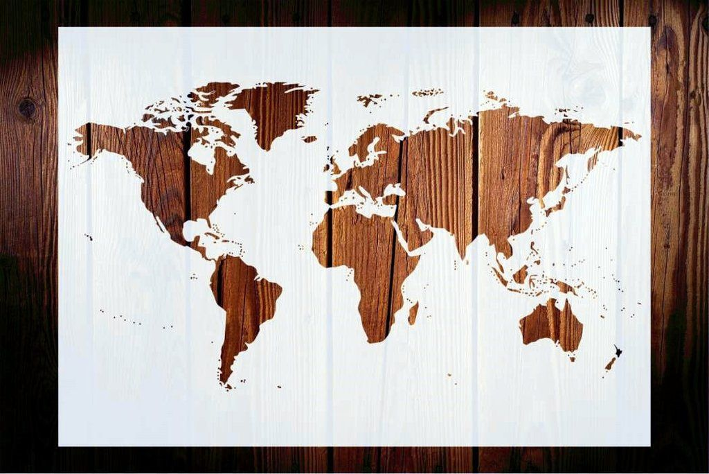 World map stencil great for recycled pallet or wood projects world map stencil great for recycled pallet or wood projects strong and reusable gumiabroncs Images