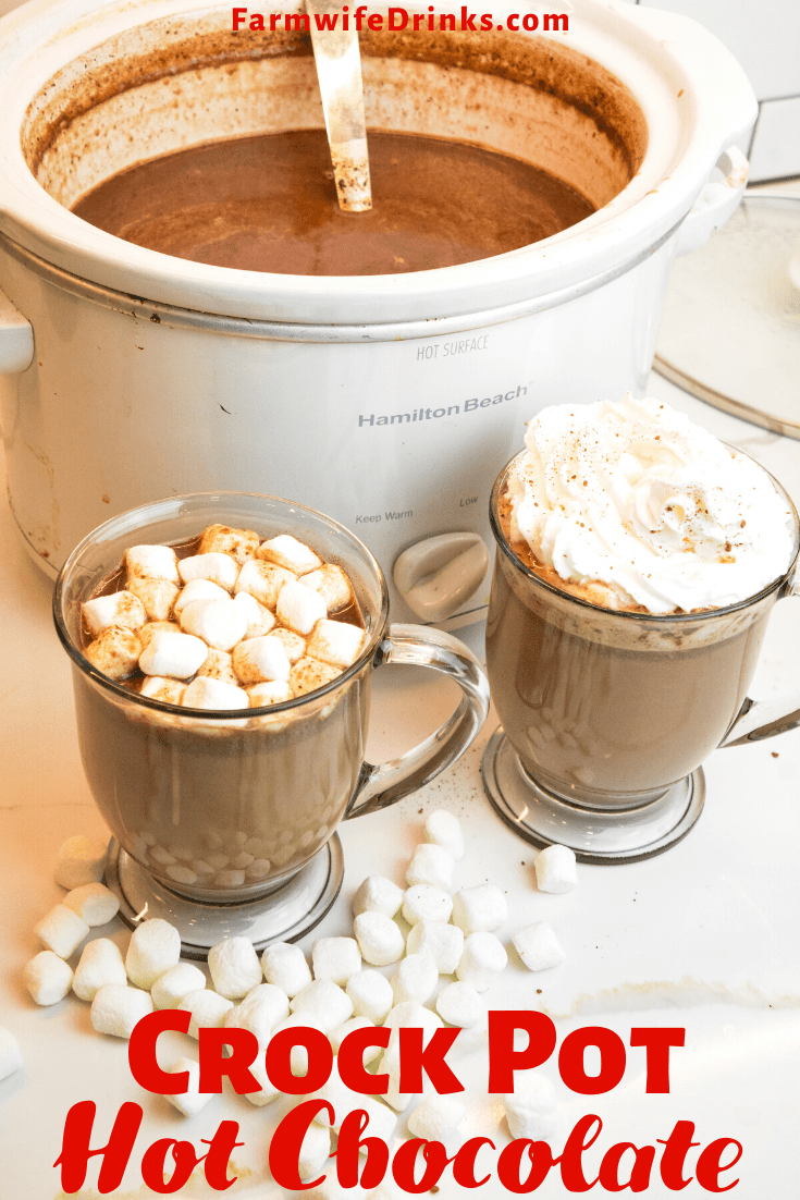 Crock Pot Hot Chocolate Is A Rich Hot Chocolate That Melts Chocolate Chips Sweeten Crockpot Hot Chocolate Crock Pot Hot Chocolate Recipe Hot Chocolate Recipes