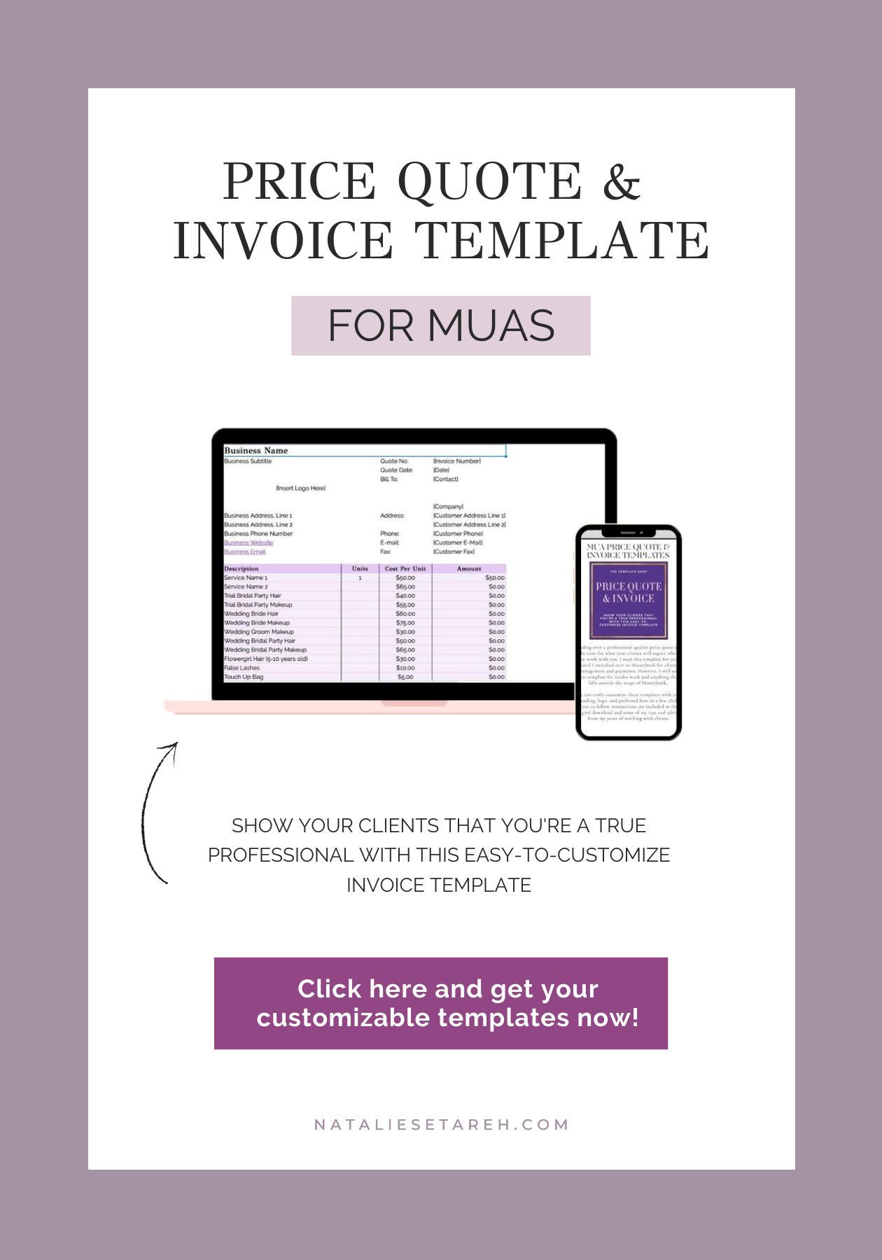 Price Quote Invoice Templates Freelance Makeup Artist Tools For Download Invoice Template Freelance Makeup Artist Business Makeup Artist Tips