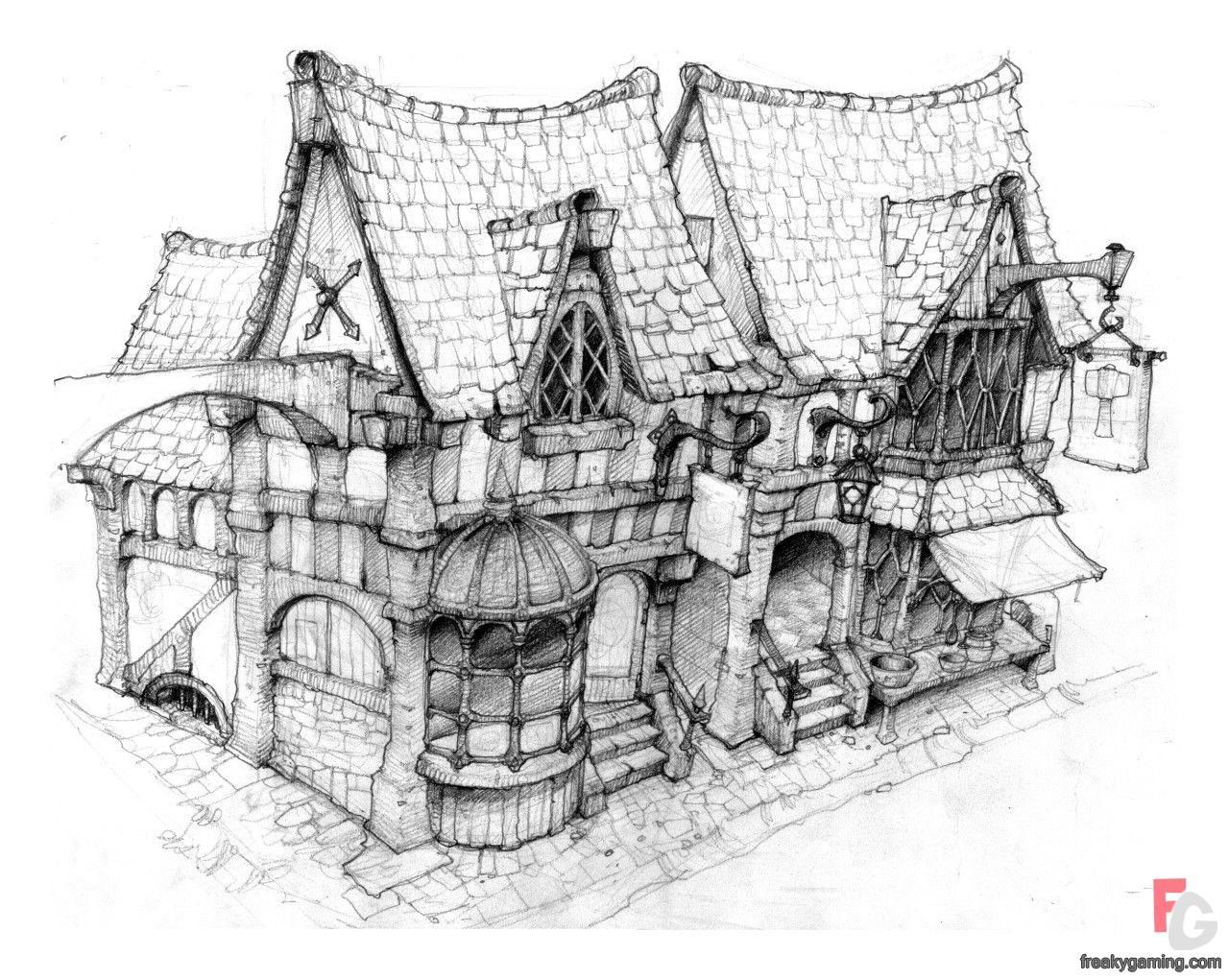 Concept Art Drawing | Fable 2 Medieval Inn Concept Art