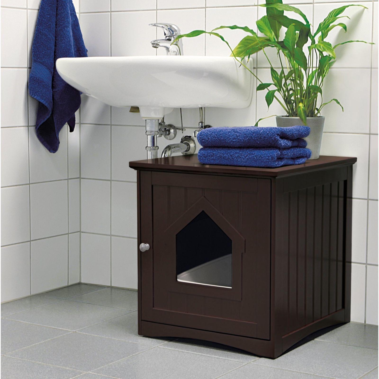 Brown Cat Home Litter Box Enclosure Wood Indoor Pet House