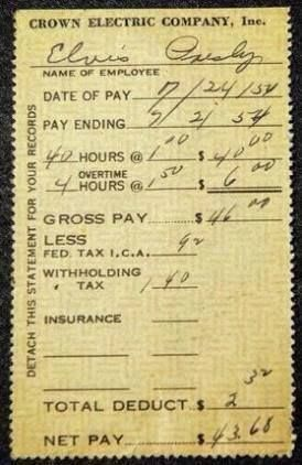 This Is A Pay Stub From July 1954 Elvis Presley Made 1 00 Per