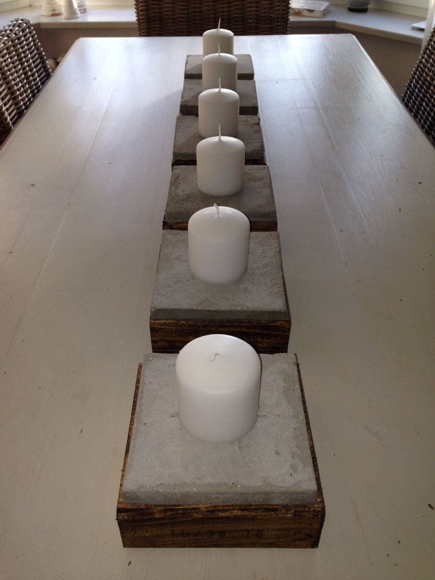 DIY Kerzenständer Aus Holz Und Beton Dicke 8cm Holzbohlen Zum Quadrat  Geschnitten, Gewachst