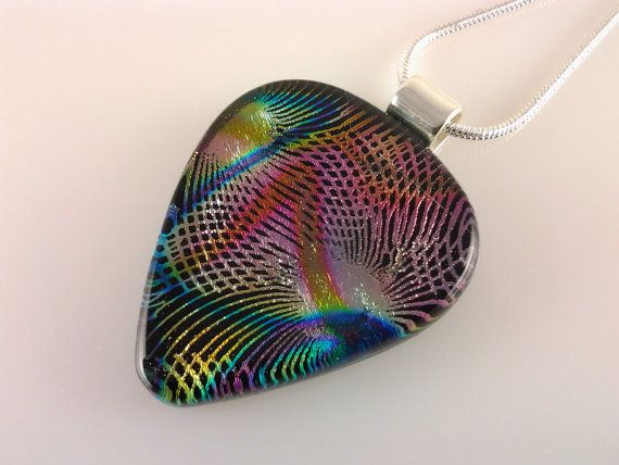 Dichroic Guitar Pick Pendant Fused Glass Jewelry by AngelasArtGlass