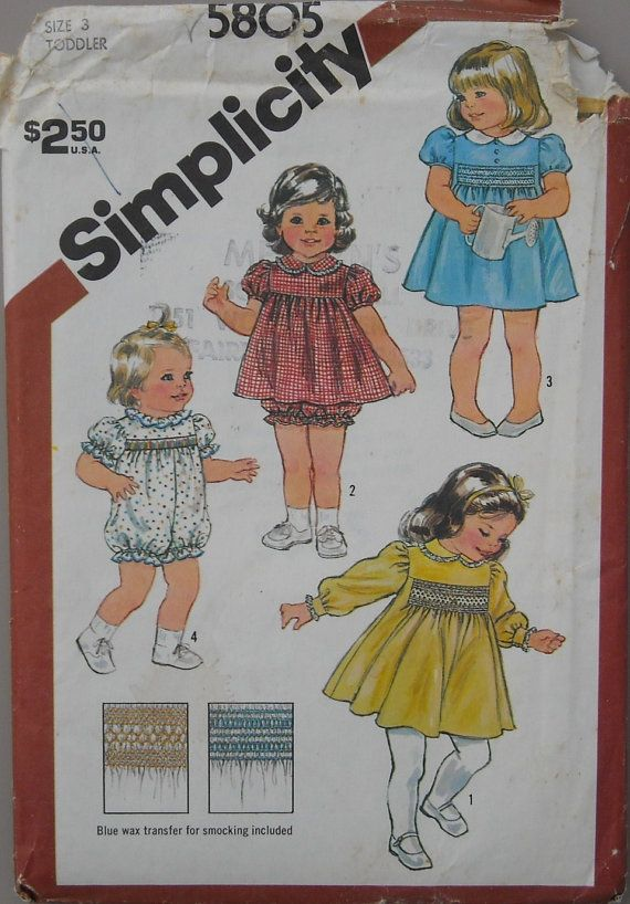 Smocked Dress Romper Simplicity 5805 Vintage 80s Girls