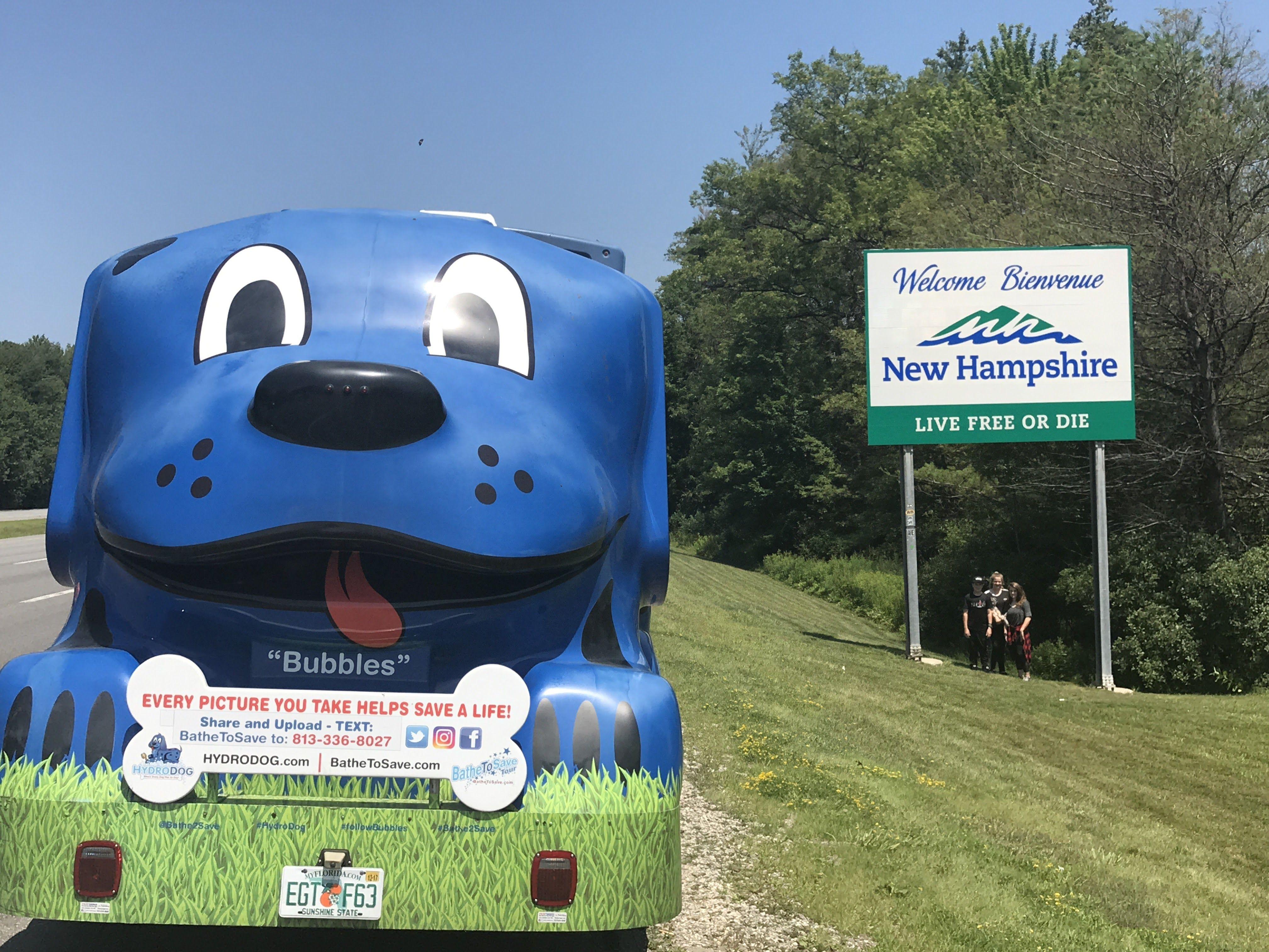 New Hampshire hydrodog dogs bathetosave tour