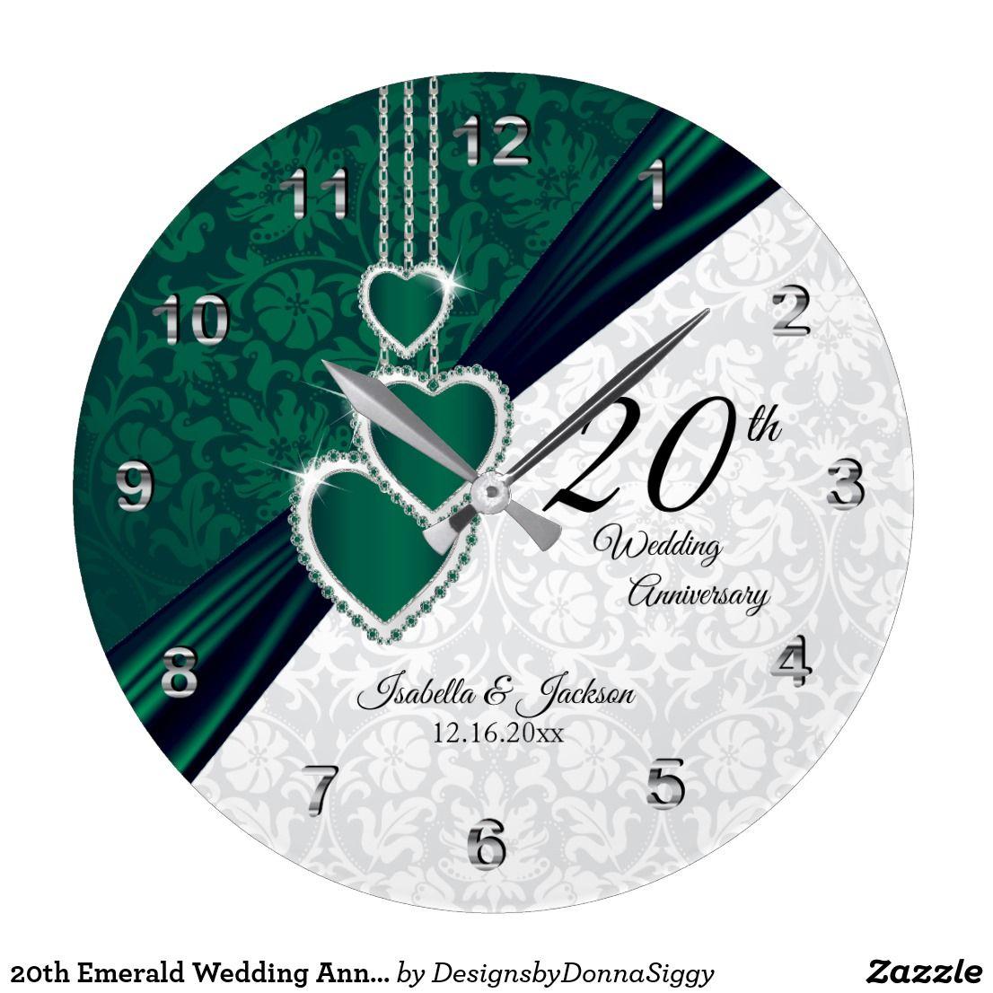 20th Emerald Wedding Anniversary Keepsake Large Clock