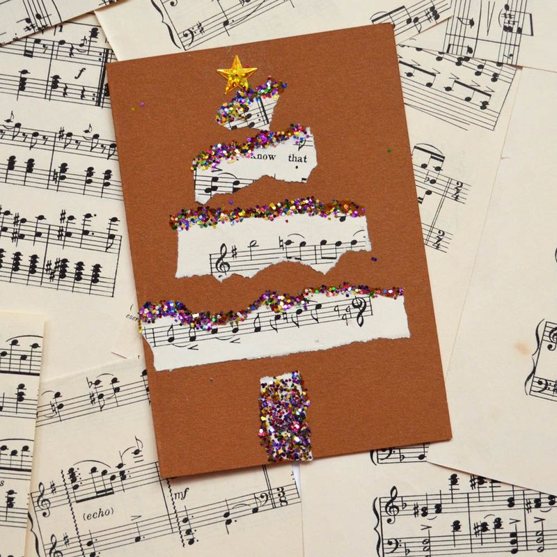 use music paper for collaged christmas cards přáníčka Pinterest