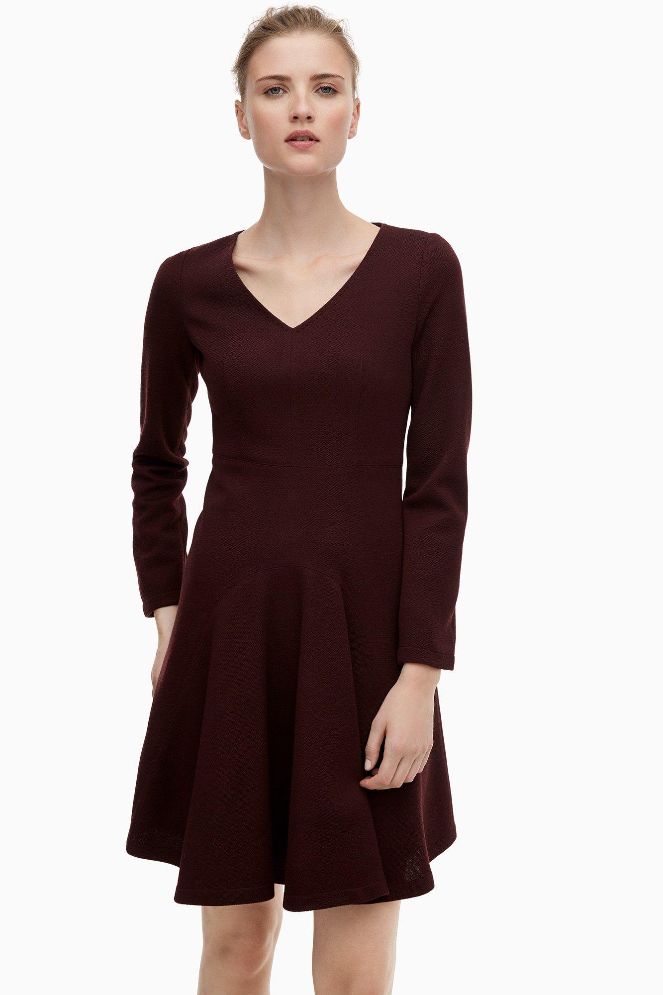 Long-Sleeve V-Neck Skater Dress - Belle du Jour | Adolfo Dominguez shop online