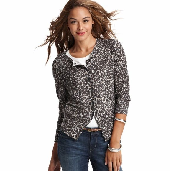 Cheetah Animal Print Cardigan Sweater Crew neck. 3/4 sleeves. Button front. Ribbed neckline, cuffs and hem. 100% cotton. Machine washable. LOFT Sweaters Cardigans