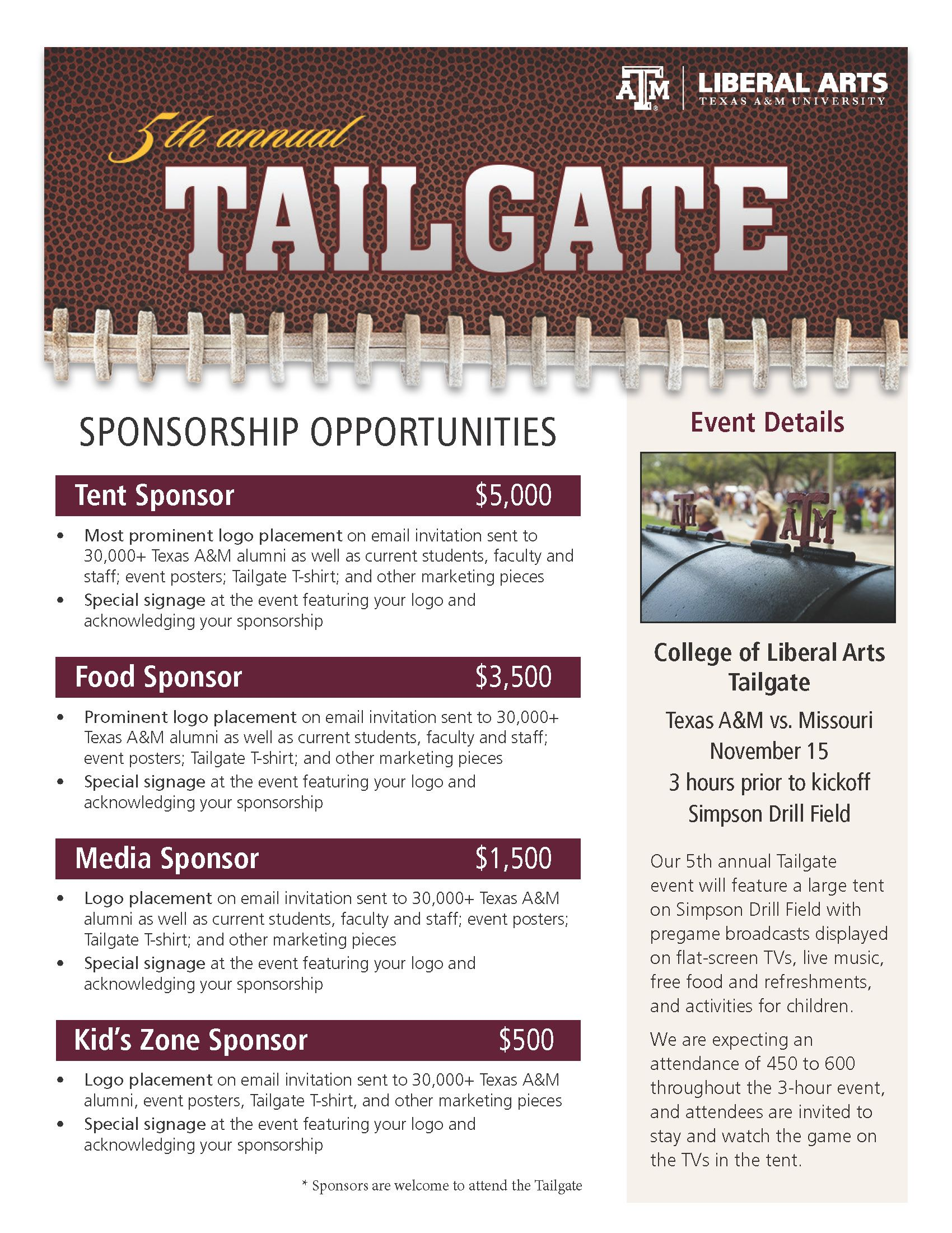 2014 tailgate sponsorship flyer work portfolio for Fundraising brochure template