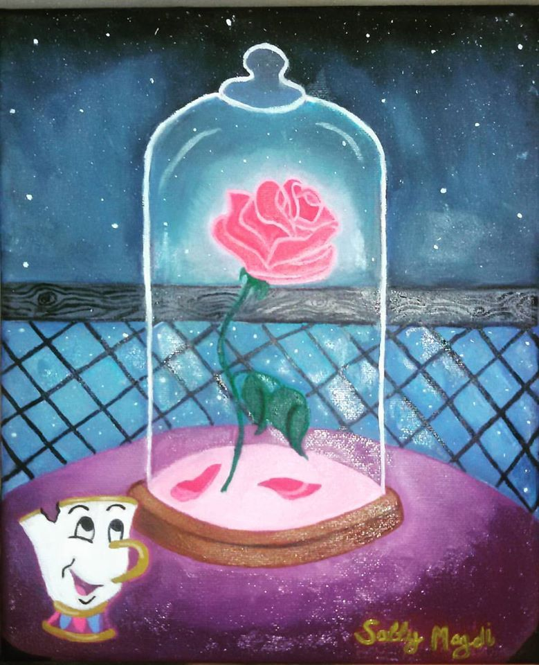 Beauty And The Beast Rose On Canvas Oil Color Disney Beauty And The Beast Diy Beauty And The Beast Rose Diy Disney Paintings
