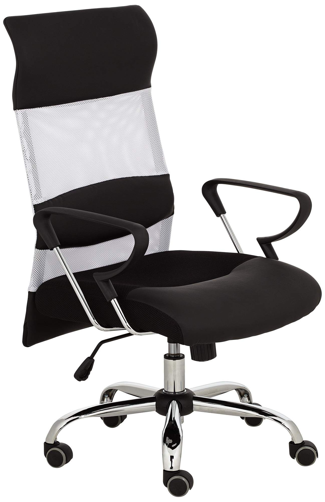Black and white mesh back office chair 55downingstreet