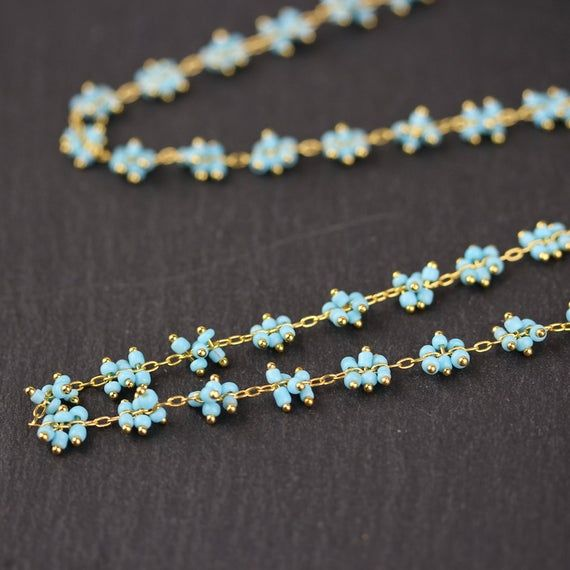 7mm New Style Blue Plastic Beads Necklace Chain,Wire Wrapped Golden Plated Rosary Jewelry Supplies #rosaryjewelry