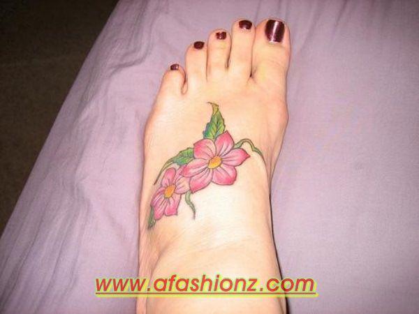Latest Casual Feet Flower Tattoo Designs For Girls 2015-2016