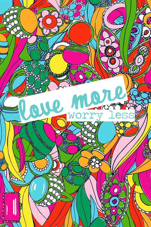 American Hippie Art Quotes Love More Worry Less