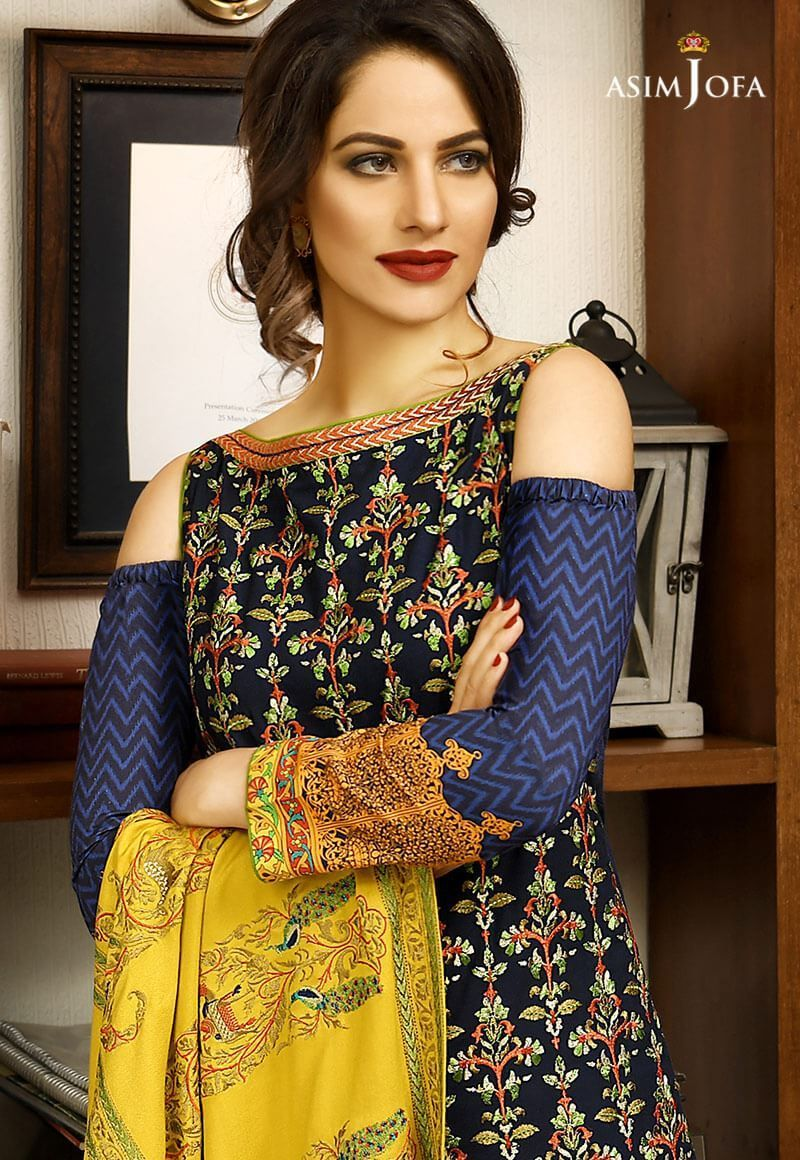 be7f429b2 Asim Jofa Winter Shawl Dresses Collection 2017-2018