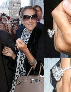 Celine Dions engagement ring is a 45 carat Asschercut diamond