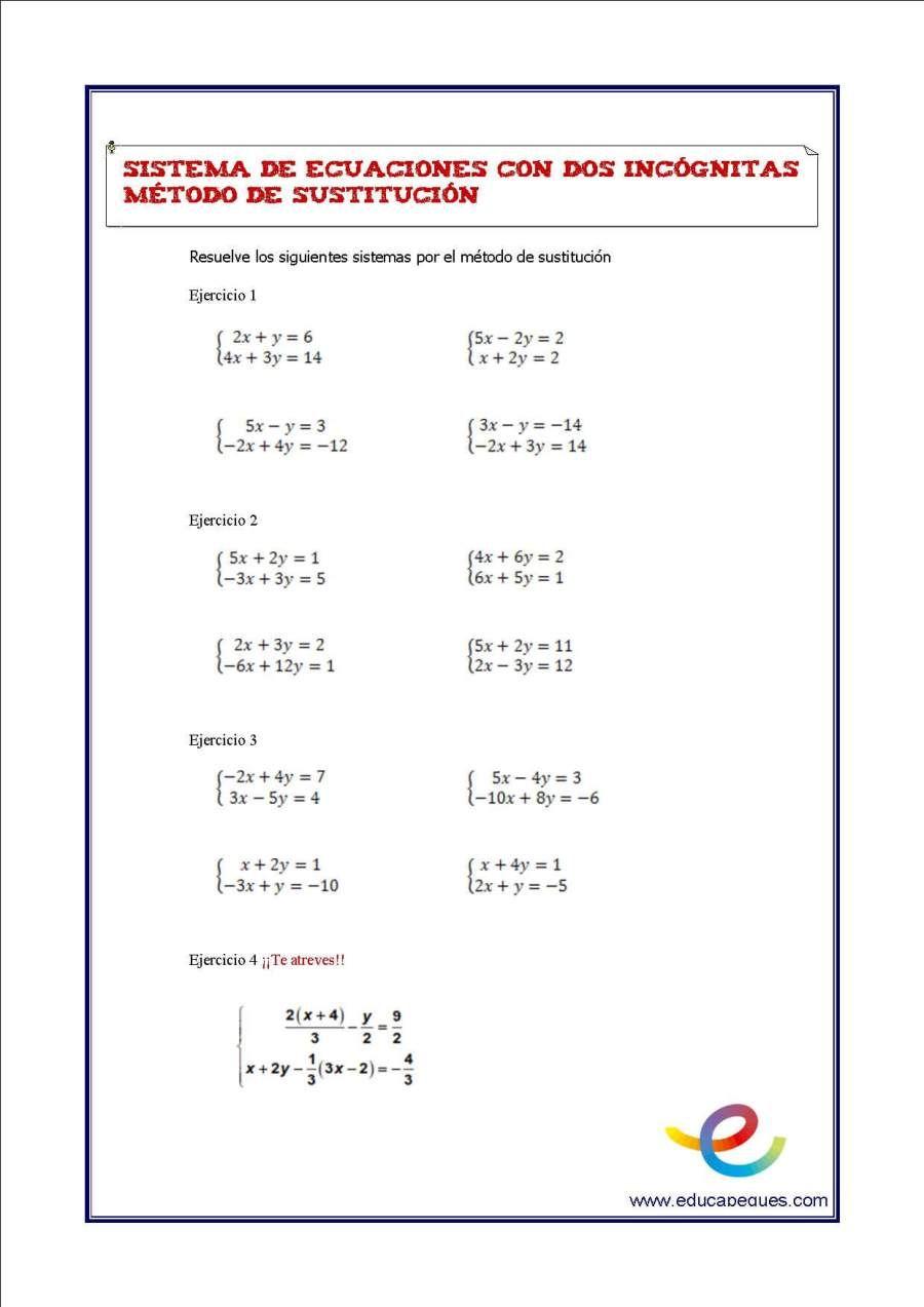 Sistemas De Ecuaciones De Dos Incognitas Matematicas Segundo De Eso Sistemas De Ecuaciones Ecuaciones Secundaria Matematicas