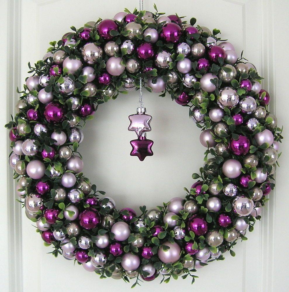 kugelkranz weihnachtskranz lila 36cm t rkranz weihnachten. Black Bedroom Furniture Sets. Home Design Ideas