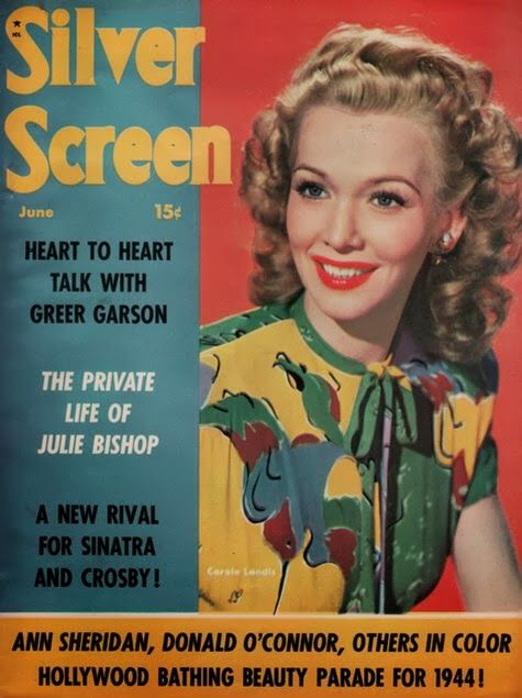 Carole Landis on the cover of Silver Screen magazine, June 1944, USA.
