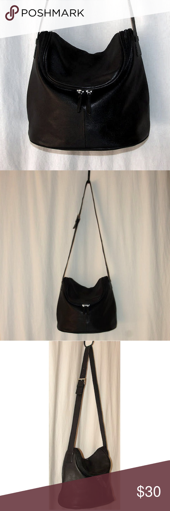 b89d2290e5a3 MAXX New York Black Leather Organizer Shoulder Bag Excellent Pre-Loved  Condition 12