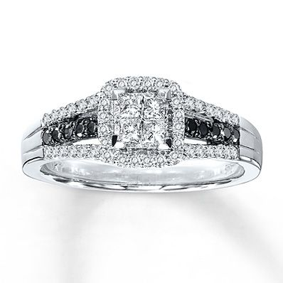 kay jewelers diamond engagement ring 12 ct tw diamonds 10k white gold artistry - Black And White Diamond Wedding Rings