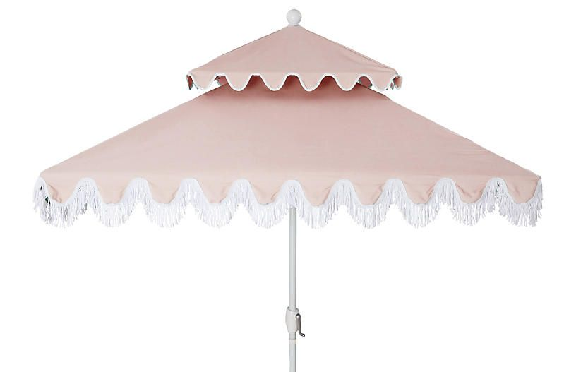 Hannah Two-Tier Square Patio Umbrella - Light Pink - frame, white; canopy, light pink/white
