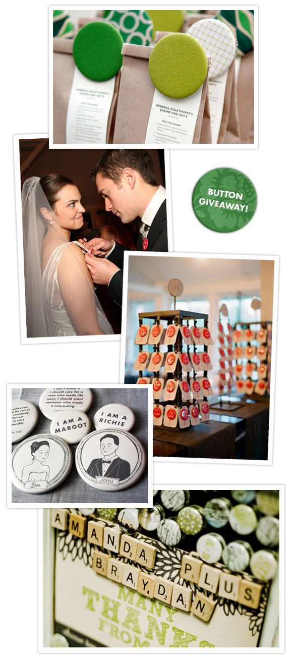 I'm really in love with the idea of custom buttons for guest's table numbers. A fun way to start conversations.