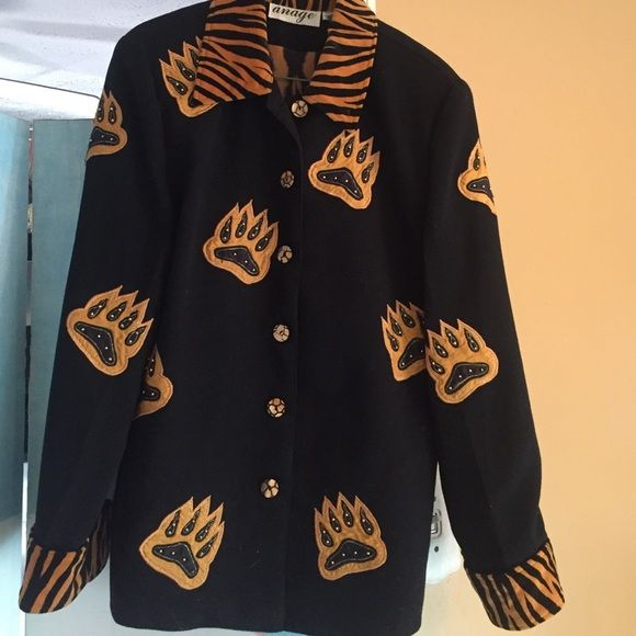 Jacket Black polyester with mustard claw prints all over Anage Jackets & Coats Blazers